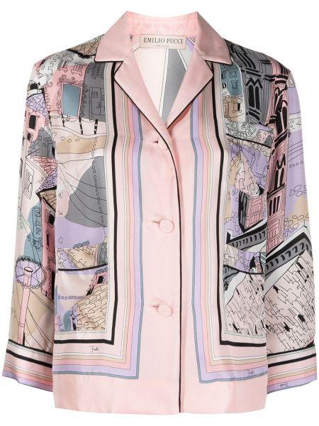 Розовая шелковая рубашка на пуговицах Emilio Pucci