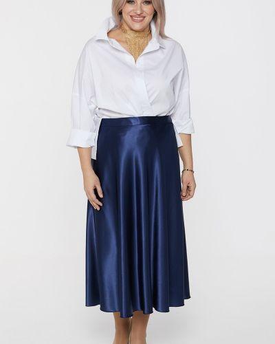 Сатиновая юбка ниже колена с поясом Luxury