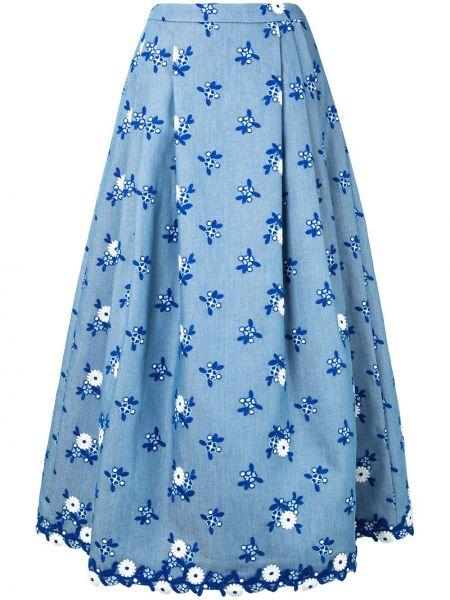Синяя юбка миди на молнии с вышивкой в рубчик Andrew Gn