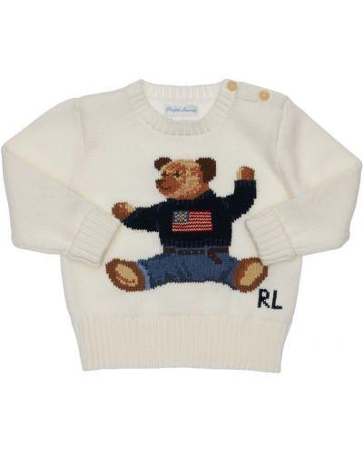 Prążkowany biały sweter bawełniany Ralph Lauren