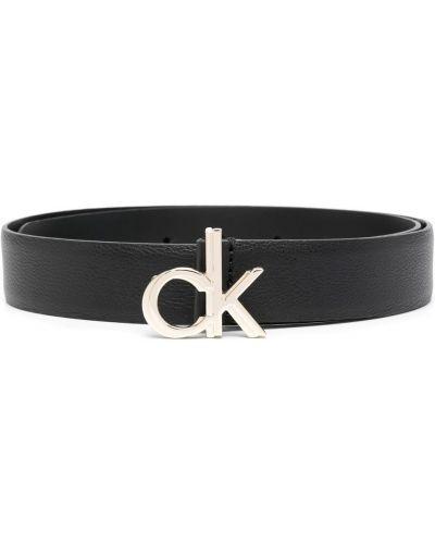Кожаный ремень - черный Calvin Klein