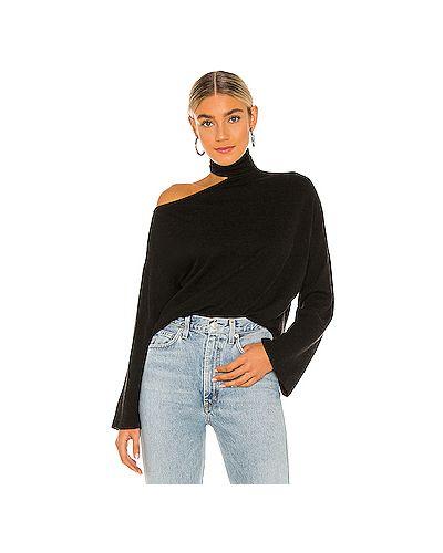 Черный кашемировый свитер с воротником с вырезом Enza Costa