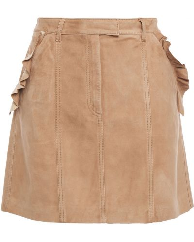 Желтая кожаная юбка мини с карманами 7 For All Mankind