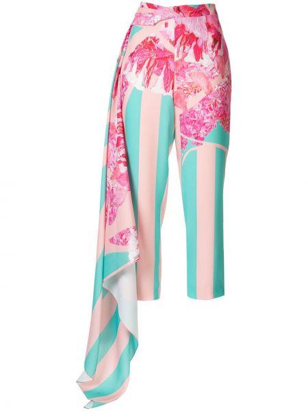 Różowe spodnie z wysokim stanem w paski Halpern