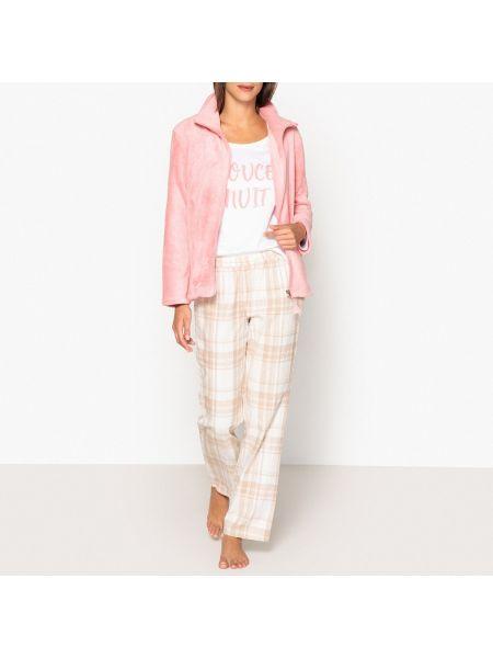 Розовая пижамная теплая пижама с брюками с длинными рукавами La Redoute Collections