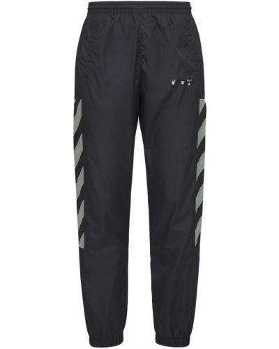 Nylon czarny spodnie na gumce Off-white