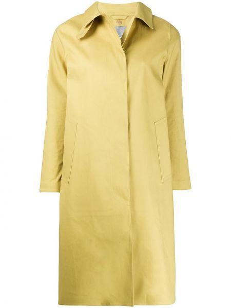 Желтое длинное пальто с капюшоном с воротником Mackintosh