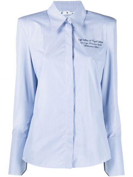 Niebieski bawełna koszula w paski Off-white