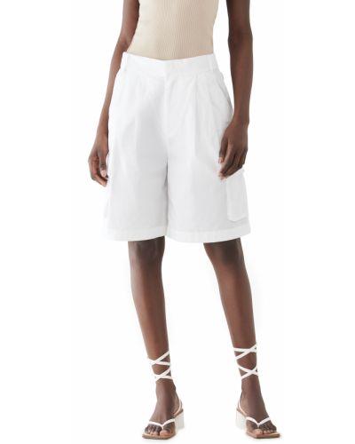 Хлопковые белые шорты карго с карманами Tibi