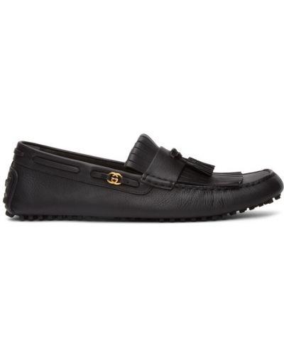 Czarny loafers z frędzlami na pięcie plac Gucci