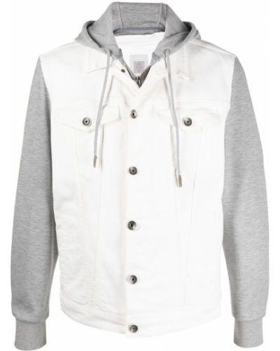 Хлопковая белая джинсовая куртка с капюшоном Eleventy