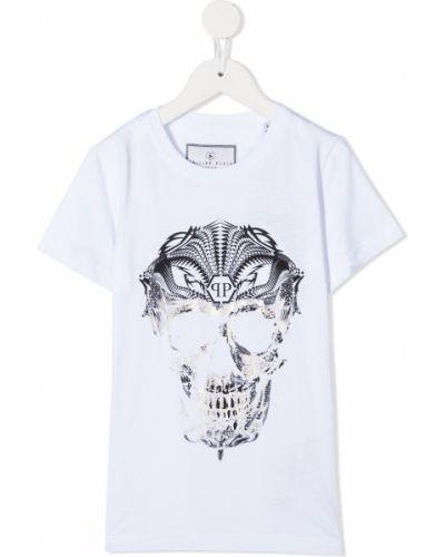 Biały bawełna prosto koszula z krótkim rękawem okrągły dekolt Philipp Plein