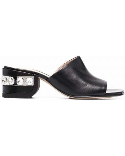Sandały skórzane na obcasie - czarne Nicholas Kirkwood