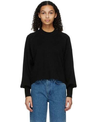 Хлопковый черный длинный свитер с воротником Won Hundred