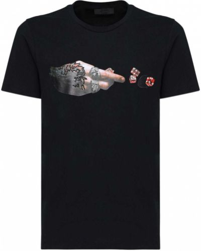 Czarny t-shirt bawełniany z haftem Rh45
