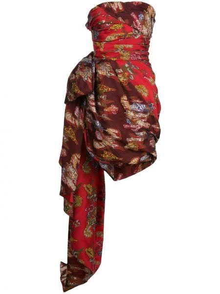 Платье в рубчик с драпировкой Oscar De La Renta