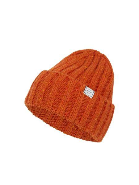 Prążkowana pomarańczowa czapka wełniana Gant