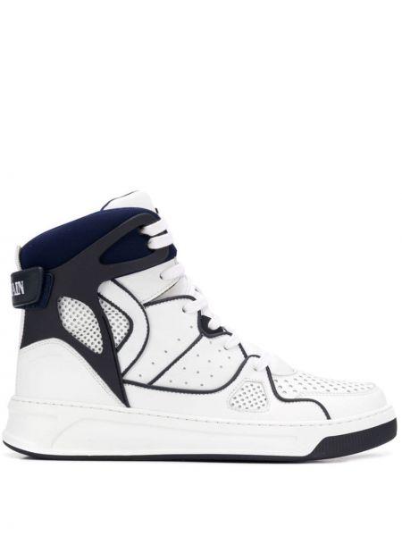 Кожаные высокие кроссовки с перфорацией на каблуке на шнуровке Balmain