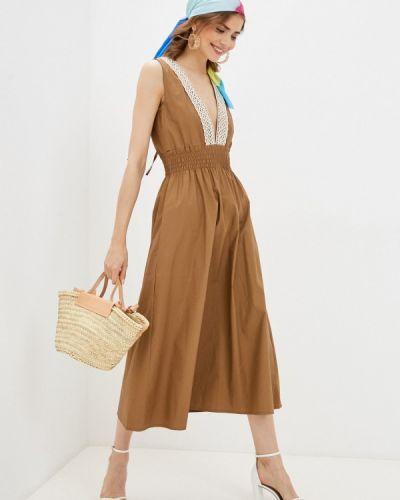Прямое коричневое платье А-силуэта Rinascimento