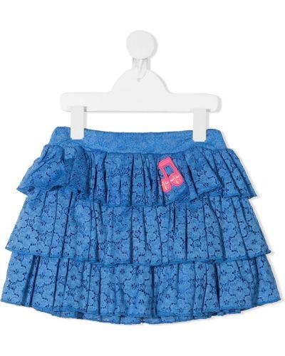 Ажурная синяя юбка мини с оборками Mini Rodini
