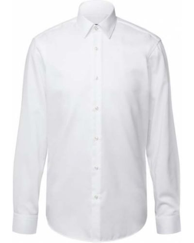 Biała koszula bawełniana z długimi rękawami Boss