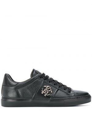 Черные кеды с нашивками на шнуровке металлические Roberto Cavalli