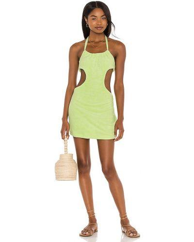 Текстильное с кулиской зеленое платье мини Lovers + Friends