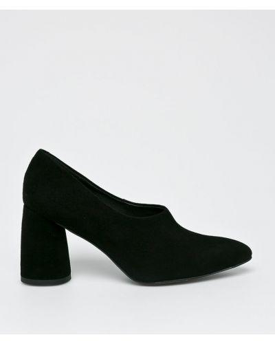 Туфли на каблуке кожаные черные Gino Rossi