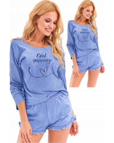 Niebieska piżama bawełniana z długimi rękawami Taro
