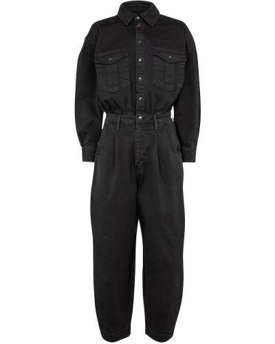 Хлопковый черный джинсовый комбинезон стрейч Frame
