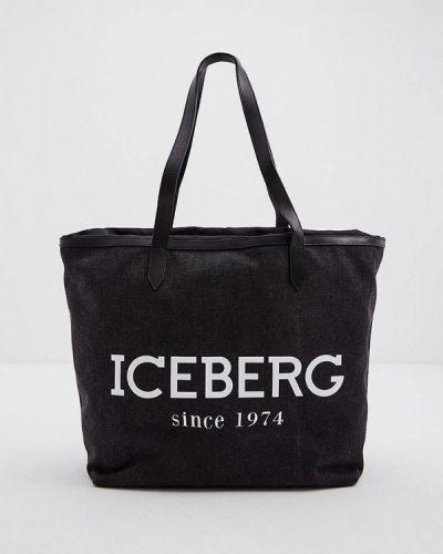 Хлопковая серая сумка шоппер Iceberg