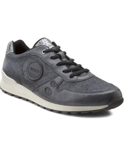 Кожаные кроссовки замшевые черные Ecco