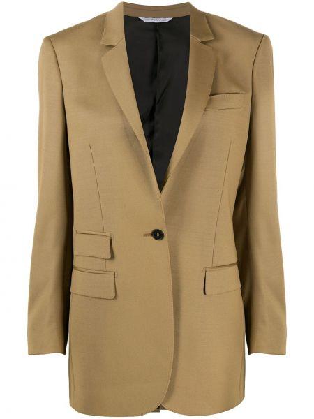 Шерстяной коричневый удлиненный пиджак с карманами Tonello