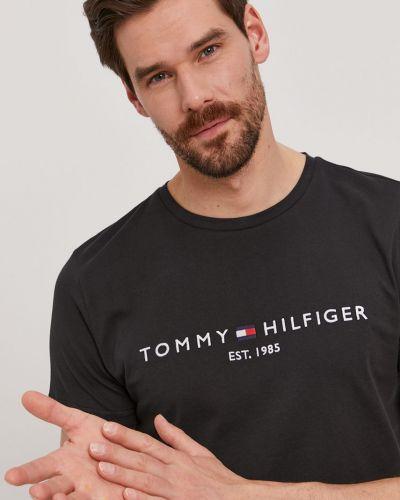 Czarny t-shirt bawełniany z printem Tommy Hilfiger