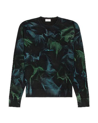 Czarna bluza dresowa bawełniana z printem Saint Laurent