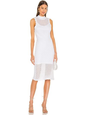 Открытое белое платье миди без рукавов 525