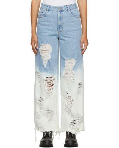 Серебряные прямые джинсы с манжетами стрейч с заплатками Sjyp
