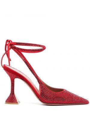 Кожаные красные туфли на каблуке Amina Muaddi