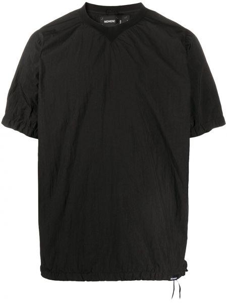 Czarny t-shirt krótki rękaw z nylonu Nemen