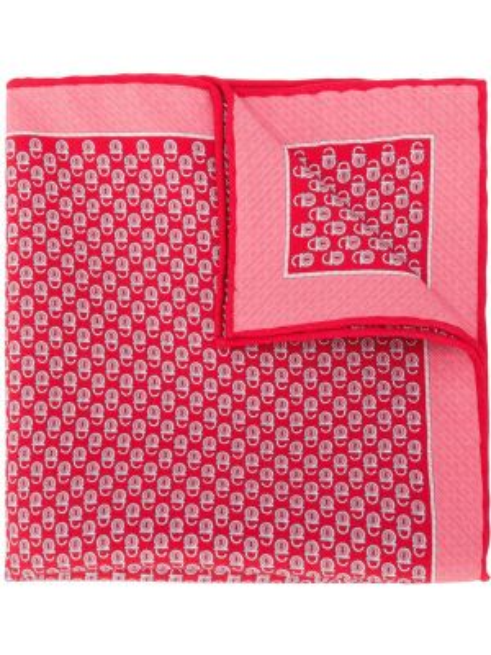 Prążkowany różowy szalik z jedwabiu Salvatore Ferragamo