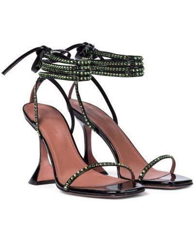 Черные кожаные сандалии на каблуке Amina Muaddi