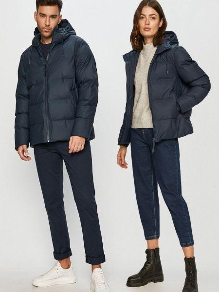 Прямая синяя куртка с капюшоном Rains