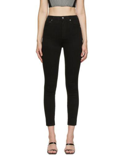 Czarny jeansy na wysokości z kieszeniami chudy Agolde