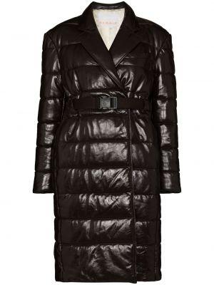 Brązowy długi płaszcz skórzany Remain