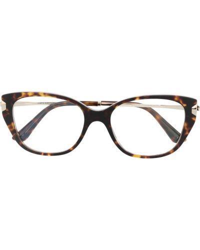 Коричневые очки кошачий глаз металлические прозрачные Bvlgari