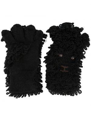 Czarne rękawiczki wełniane Doublet