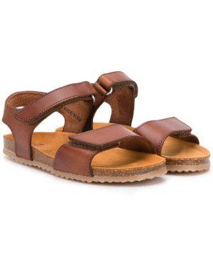 С ремешком кожаные коричневые сандалии Pépé Kids