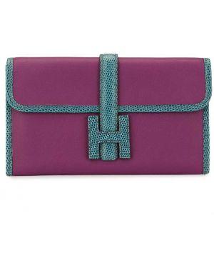 Fioletowa kopertówka skórzana Hermès Pre-owned