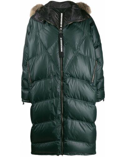 Прямое стеганое длинное пальто на молнии с опушкой As65