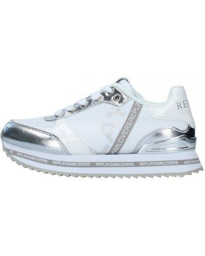 Białe trampki srebrne Replay